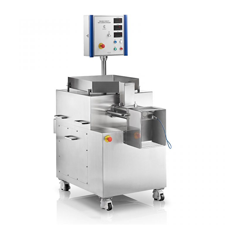 VARIABLE DENSITY TWIN SCREW EXTRUDER